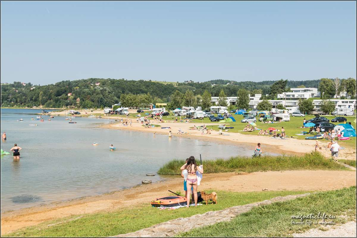 Jezioro Rożnowskie plaża wGródku nadDunajcem